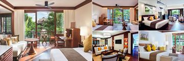 Belmond La Residence D'Angkor, (clockwise from left): Poolside Junior Suite, Garden Junior Suite, Deluxe Studio Suite and One Bedroom Poolside Suite Bedroom and Lounge