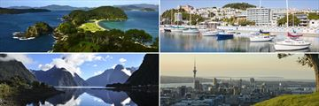 Clockwise from top left: Bay of Islands, Wellington, Auckland and Milford Sound