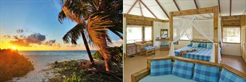 The beach and Eco Lodge interiors at Bird Island Lodge