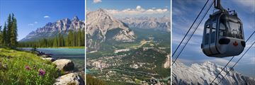 Bow River, Banff aerial view & Sulphur Mountain Gondola