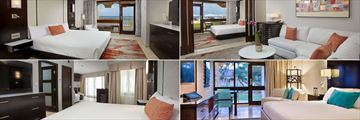 Clockwise From Top Left: Penthouse Suite, Tara Suite, Standard Superior Room, and Bungalow Suite at Bucuti & Tara Beach Resort