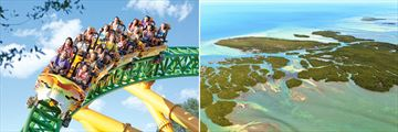 Busch Gardens Rollercoaster & Aerial view of Florida Keys