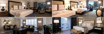 Caesars Palace, (clockwise from top left): Augustus King, Augustus Premium Room, Julius Executive Suite Bedroom and Julius Executive Suite Living Room