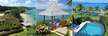 Calabash Cove, Beach and Gazebo, Couples Massage in Gazebo and Water's Edge Cottage Pool and View