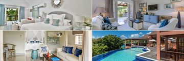 Clockwise From Top Left: Junior Suite, Pool Suite, Pool House and Deluxe Suite at Calabash Luxury Boutique Hotel & Spa