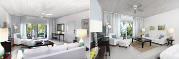 Ocean Suite and Beach Suite Living Areas at Carlisle Bay