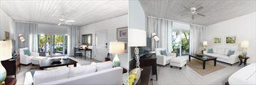 Ocean Suite and Beach Suite Living Areas at Carlisle Bay