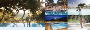 Carmel Valley Ranch, (clockwise from left): Spa Infinity Pool, Cabana Pool, Family Pool and Family Pool at Night