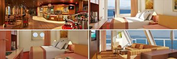 Carnival Valor; Guys Burger Joint; Balcony Cabin, Captains Suite, Porthole Satetroom