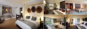 The Cascades Hotel, (clockwise from left): Heron Suite, Luxury Family Room, Superior Luxury Room, Peacock Suite and Garden Suite