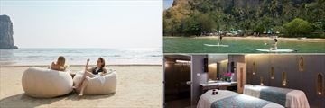 Beach loungers, paddle boarding, and the spa at Centara Grand Beach Resort, Krabi