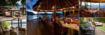 Cerf Island Resort, Poolside Dining, Zepis Restaurant, Zepis Restaurant, In-Villa Dining and Pool Bar Lounge