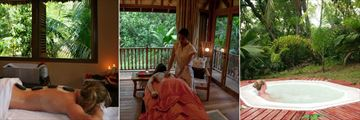Cerf Island Resort, Spa Hot Stone Therapy, Spa Therapy Room and Spa Open Air Jacuzzi