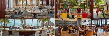 Cheeca Lodge & Spa, (clockwise from top left): Atlantic's Edge, Mia Cucina Pizzeria, Nikai Sushi Bar & Restaurant and Tiki Bar