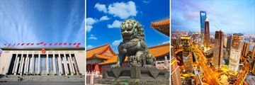 Chinese Government Building ay Tiananmen Square, Copper lion at the Forbidden City Beijing, Shanghai China