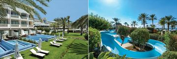 Junior Suites with Private Pool and the waterslide at Constantinou Bros Athena Beach Hotel