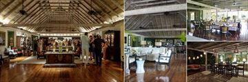 Cotton House, Mustique, (clockwise from left): Great Room Bar, Great Room Seating and Veranda Restaurant