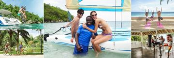 Couples San Souci, Jamaica, (clockwise from top left): Snorkeling, Sailing, Yoga, Fitness and Cycling