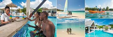 Coyaba, (clockwise from left): Swim Up Bar, Catamaran Trip, Kayaking, Pool and Beach