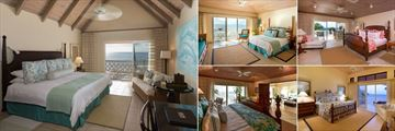 Curtain Bluff, (clockwise from left): Deluxe Room, Bluff Room, Grace and Morris Bay Suite, Terrace Suite and Bay Suite