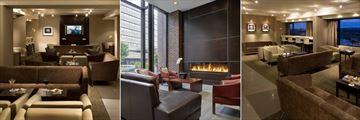 Signature Club Lounge, Lobby Fireplace Seating Area and Signature Club Lounge at Delta Calgary Downtown