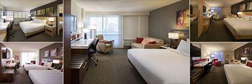 Delta Hotels by Marriott Winnipeg, (clockwise from top left): Odyssey Suite, King Guest Room, Corner Deluxe Guest Room, Club Level King Room and Club Level Queen-Queen Room