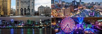 Delta Montreal, (clockwise from top left): Notre Dame Basilica of Montreal, Entertainment District, Montreal En Lumiere and Montreal Old Port and Downtown