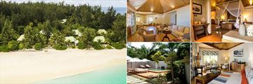 Denis Private Island, (clockwise from left): Exterior of Cottages, Family Cottage, Beach Villa, Beach Cottage Interior and Private Pool
