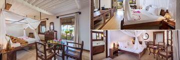 Diamonds Mapenzi Beach, (clockwise from left): Beach Villa, Swahili Room and Superior Room