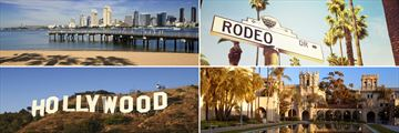 Clockwise from top left: San Diego, Rodeo Drive, Balboa Park and Hollywood sign
