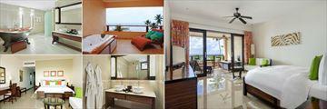 DoubleTree by Hilton Seychelles Allamanda Resort & Spa, (clockwise from top left): King Grand Deluxe Room with Ocean View Bathroom, Terrace, Bedroom, King Deluxe Room Ocean View Bathroom and Bedroom