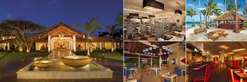 Dreams Palm Beach Punta Cana, (clockwise from left): World Cafe Exterior, Portofino Restaurant, Barefoot Grill, Himitsu Restaurant and Seaside Grill
