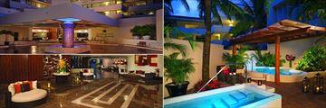 Dreams Puerto Aventuras Resort & Spa, Exterior to Lobby, Spa Outdoor Jacuzzis and Interior Lobby