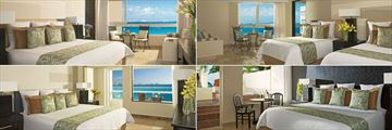 Dreams Sands Cancun Resort & Spa, (clockwise from top left): Deluxe Partial Ocean View, Deluxe Partial Ocean View Doubles, Preferred Club Honeymoon Suite and Deluxe Ocean Front with Balcony