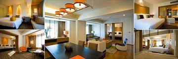 DusitD2, Chiang Mai, (clockwise from top left): Deluxe Room, D'Suite Lounge, D'Suite Bedroom, Studio Suite Bathroom and Bedroom and Studio Suite Living Room