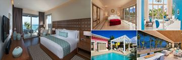 Eden Roc at Cap Cana, (clockwise from left): One Bedroom Suite, Three Bedroom Royal Villa, Two Bedroom Family Suite, Beachfront Two Bedroom Suite and Luxury Pool Junior Suite