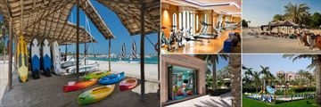 Emirates Palace, (clockwise from left): Water Sports, Fitness Centre, Camel Riding, Kids' Club Playground and Kids' Club Sarab Land