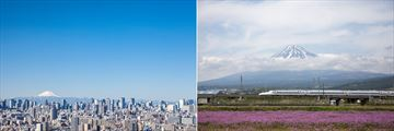 Tokyo skyline (left), and the bullet train (right)