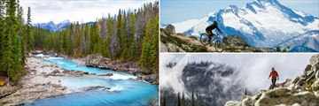 Kicking Horse (left), cycling in Whistler (top right), and hiking in Revelstoke