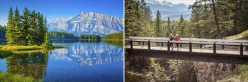 Two Jack Lake in Banff (left), and Maligne Canyon in Jasper (right)