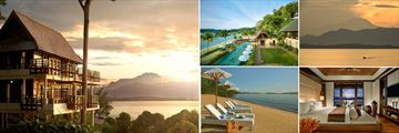 Gaya Island Resort Kinabalu VIlla, Pool, mount Kinabalu at sunset from Gaya Island, Guestroom, beach (shown clockwise)