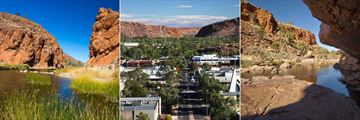 Glen Helen Gorge (left), downtown Alice Springs (middle), and Ormiston Gorge (right)