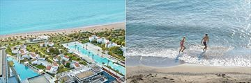 Aerial view of Grecotel LUX ME Dama Dama and enjoying the protected beach
