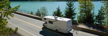 Driving alongside Green Lake, Whistler, British Columbia