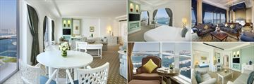 Habtoor Grand Resort & Spa, Autograph Collection, (clockwise from left): Ambassador Suite, Club Suite, Royal Suite, Towe Suite Living Room and Presidential Suite View