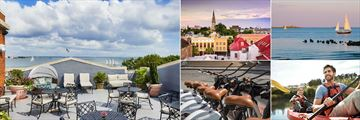 HarbourView Inn, (clockwise from left): Rooftop Bar, Sightseeing, Sailing, Canoeing and Cycling