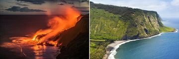Kilauea Volcano (left), and Waipio Valley (right)