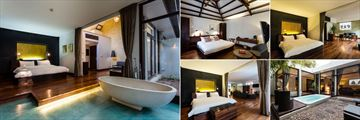 Heritage Suites Hotel, (clockwise from left): Bungalow Suite, Classic Room, Executive Suite and Royal Suite Jacuzzi and Bedroom