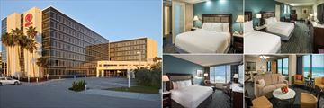 Hilton Cocoa Beach, (clockwise from left): Exterior, Junior Suite, One Bedroom Oceanfront Suite and Oceanfront Rooms