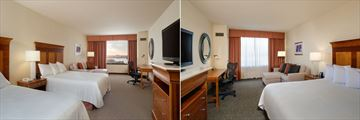 Double Queen Guest Room and King Guest Room at Hilton Garden Inn Portland Downtown Waterfront Hotel